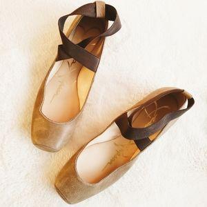 Jessica Simpson Tan Leather Ballet Flats Elastic